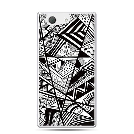 Xperia Z4 compact etui czarno białe trójkąty