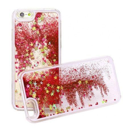 iPhone 6 etui z ruchomym płynem w środku stardust czerwony brokat.