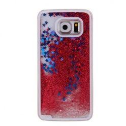 Galaxy S6 etui z ruchomym płynem w środku stardust czerwony brokat.
