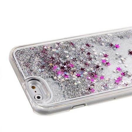 iPhone 5, 5s etui z ruchomym płynem w środku Stardust srebrny brokat.