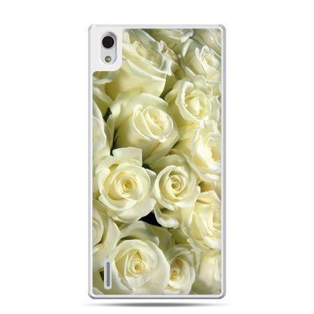 Huawei P7 etui białe róże