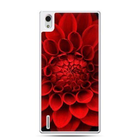 Huawei P7 etui czerwona dalia