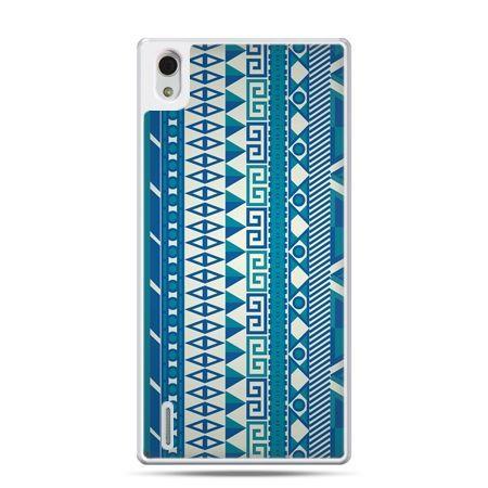 Huawei P7 etui niebieski wzorek pionowy