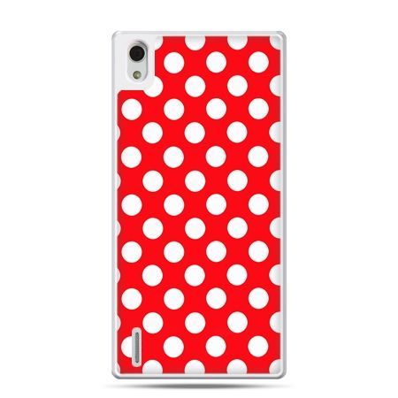 Huawei P7 etui czerwona polka dot