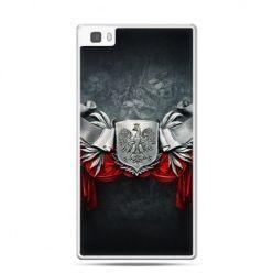 Etui na telefon Huawei P8 patriotyczne - stalowe godło