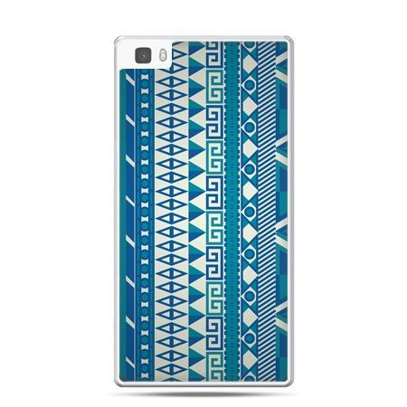 Huawei P8 etui niebieski wzorek pionowy