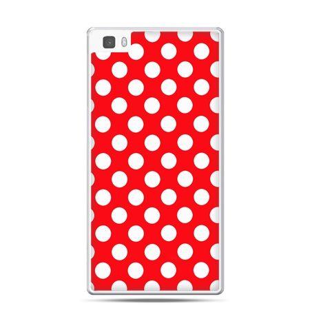 Huawei P8 etui czerwona polka dot