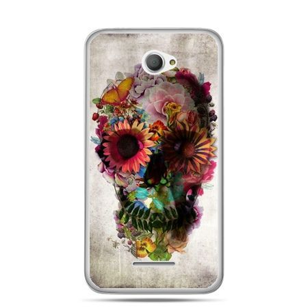 Xperia E4 etui czaszka z kwiatami
