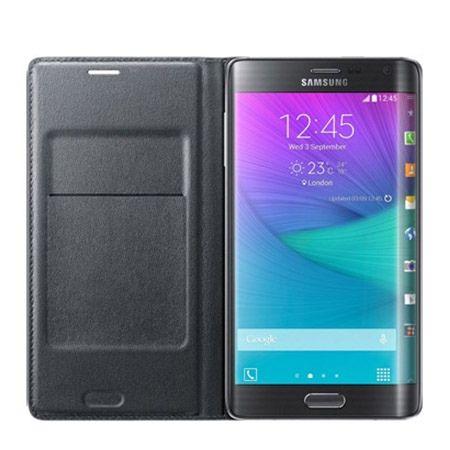 Galaxy Note Edge  etui Flip Wallet skóra czarne z klapką.