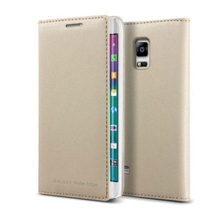 Galaxy Note Edge  etui Flip Wallet skóra złote.