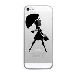 iPhone 6 ultra slim przezroczyste etui z nadrukiem kobieta z parasolem.