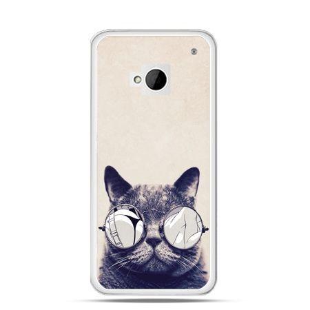 Etui na HTC One M7 Kot w okularach