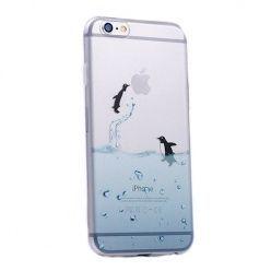 iPhone 5 ultra slim silikonowe przezroczyste etui pingwiny.