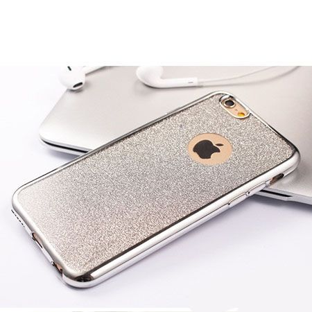 iPhone 6 etui brokat silikonowe SLIM tpu srebrne.
