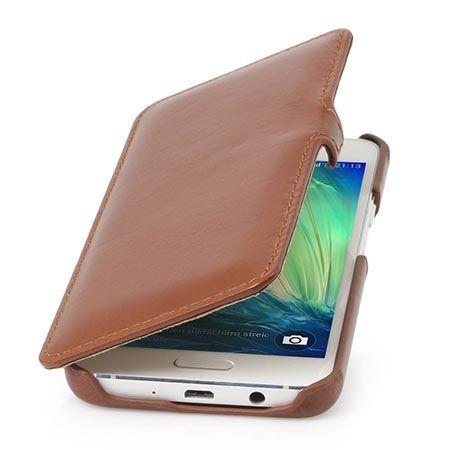 Skórzany futerał na Galaxy A3 Stilgut BOOK z klapką brązowy.