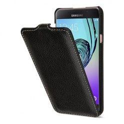 Pokrowiec na Galaxy A5 (2016) Stilgut Ultraslim z klapką skóra czarny.