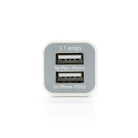 Ładowarka samochodowa 2x USB, 3.1A biała.