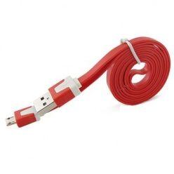 Płaski kabel do ładowania micro USB 1m - Czerwony.