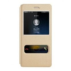 Huawei P8 Lite etui Flip Quick View z klapką dwa okienka - Złote.