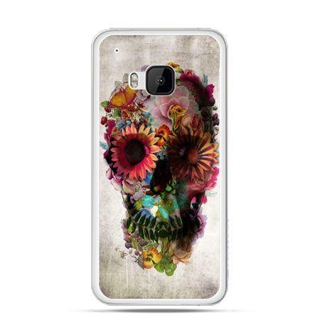 Etui na HTC One M9 czaszka z kwiatami