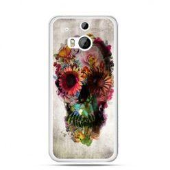 Etui na HTC One M8 czaszka z kwiatami