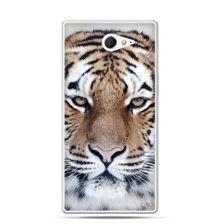Sony Xperia M2 etui śnieżny tygrys