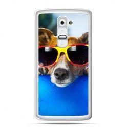 Etui na telefon LG G2 pies w kolorowych okularach