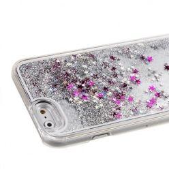 iPhone SE etui z ruchomym płynem w środku Stardust srebrny brokat.