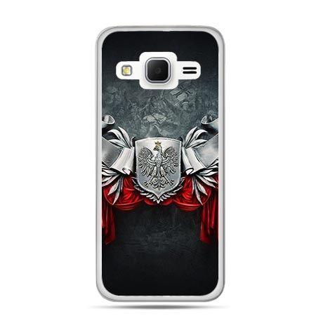 Etui na telefon Galaxy J3 (2016)  patriotyczne - stalowe godło