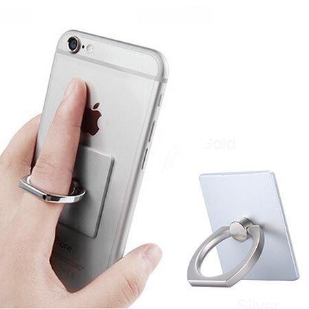 Uniwersalny uchwyt do telefonu ORing na palec - srebrny.