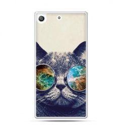 Etui na telefon Xperia M5 kot w tęczowych okularach