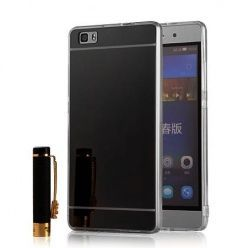 Etui na Huawei P8 Lite mirror - lustro silikonowe lustrzane TPU - czarne.