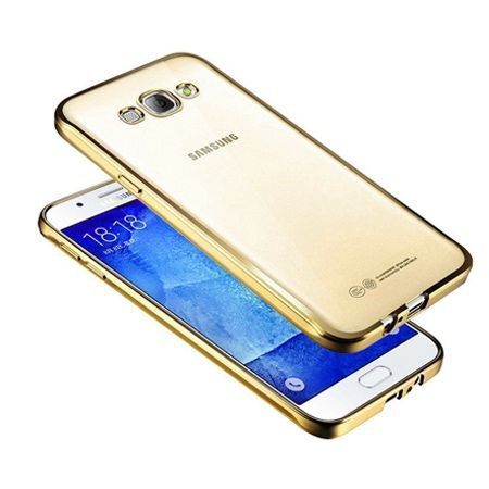 Galaxy J3 2016r przezroczyste silikonowe etui platynowane SLIM - złoty.