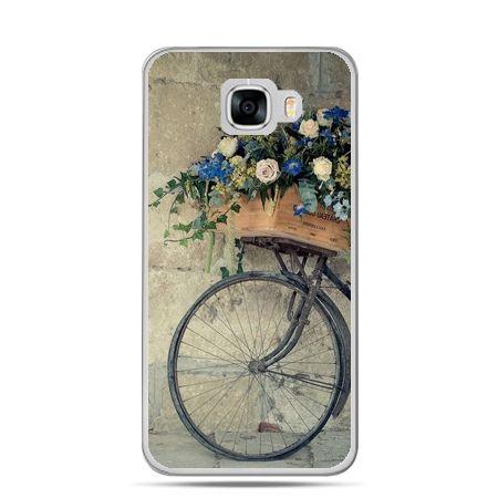 Etui na telefon Samsung Galaxy C7 - rower z kwiatami