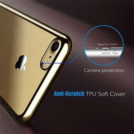 Etui na iPhone 7 silikonowe platynowane SLIM kolor - złoty.
