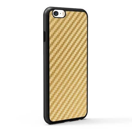 Etui na iPhone 5 / 5S gumowe Karbon - złote.