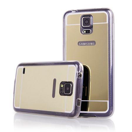 Galaxy S5 mirror - lustro silikonowe etui lustrzane TPU - złote.