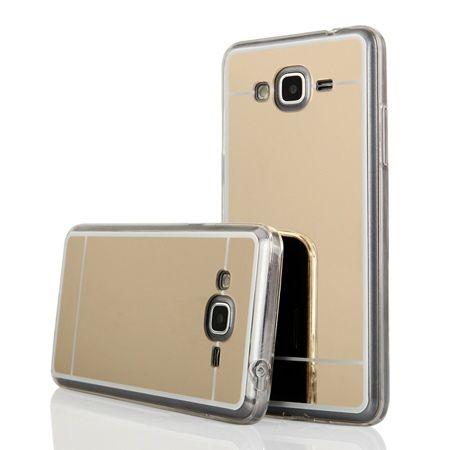 Galaxy J3 2016r mirror - lustro silikonowe etui lustrzane TPU - złoty.