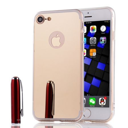 iPhone 7 mirror - lustro silikonowe etui lustrzane TPU - złoty.