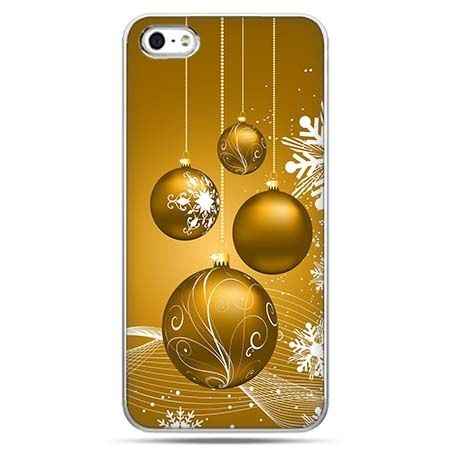 Świąteczne eui na telefon złote ozdoby choinkowe.