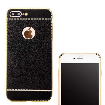 Etui na iPhone 7 Plus silikonowe platynowane TPU Slim skóra - czarne.
