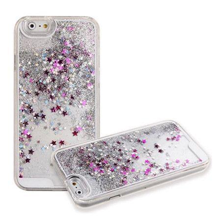 iPhone 7 etui z ruchomym płynem w środku Stardust srebrny brokat.