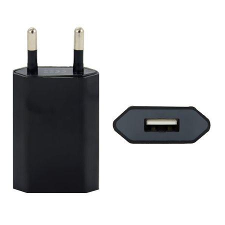 Ładowarka sieciowa VEGA płaska USB 1A - czarna.