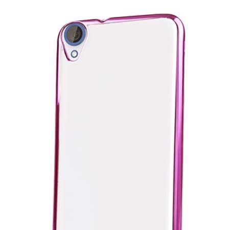 Silikonowe etui na HTC Desire 820 platynowane SLIM - różowe. PROMOCJA !!!