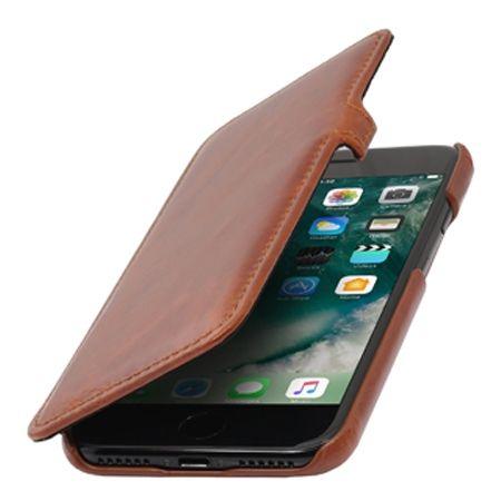 Etui na iPhone 7 Stilgut BOOK skórzane z klapką - brązowy