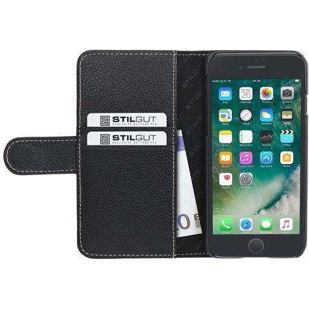 Etui na iPhone 7 Plus Stilgut skórzany portfel z klapką na karty kredytowe - czarny