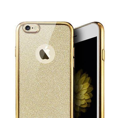 iPhone SE etui brokat silikonowe platynowane SLIM tpu - złoty.