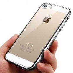 Silikonowe etui na iPhone SE platynowane SLIM - srebrny.