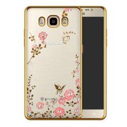 Etui na Galaxy J7 2016 silikonowe platynowane Kwiaty - złoty.