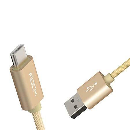 Rock Metalic aluminiowy kabel USB - C , Typ-C - 1m złoty.